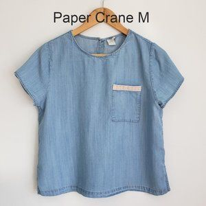 Paper Crane chambray top medium in blue